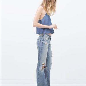 Zara Bleached 70s Flared Jeans
